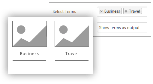 Show term as output - Content Views Pro for WordPress
